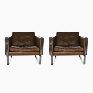 Leather & Steel JH 801 Lounge Chairs by Hans J. Wegner for Johannes Hansen, 1970s
