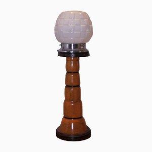 Art Deco Leuchtturm Tischlampe aus Chrom & geschnitztem Holz mit Milchglas Schirm