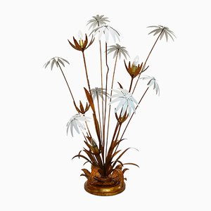 Vintage Golden Floor Lamp with Illuminated Flowers by Hans Kögl, 1970s