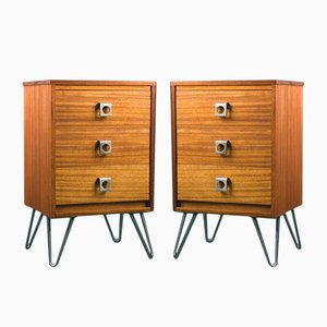 Vintage Industrial Bedside Cabinets in Teak on Hairpin Legs, 1960s, Set of 2