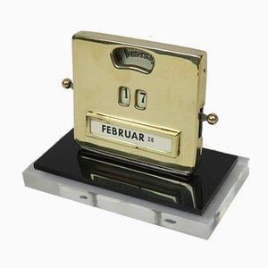Art Deco Perpetual Calendar in Plexiglas & Brass by Jakob Maul