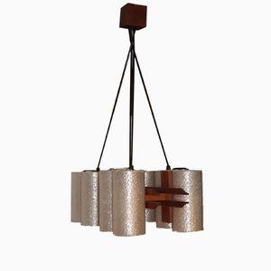 Lampada a sospensione vintage in legno e perspex, anni '60