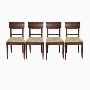 Art Deco Nussholz Stühle von Charles Dudouyt, 1930er 4er Set