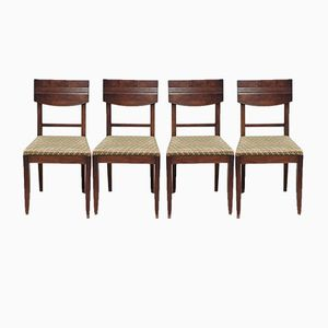 Art Deco Walnut Chairs by Charles Dudouyt, 1930s Set of 4