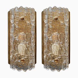 Scandinavian Brass and Glass Wall Sconces by Carl Fagerlund for Orrefors, 1960s, Set of 2
