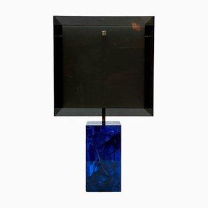 Lámpara de mesa azul de resina fractal y plexiglás de Marie Claude De Fouquieres, años 70