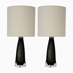Crystal Table Lamps by Nils Landberg for Orrefors, 1960s, Set of 2
