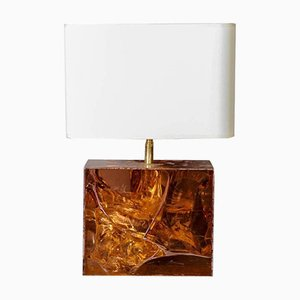 Amber Fractal Resin and Brass Table Lamp, 1970s