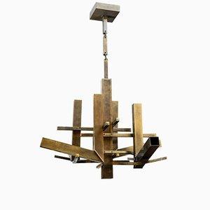 Lámpara de araña de latón patinado con cadena a juego de Gaetano Sciolari, años 70