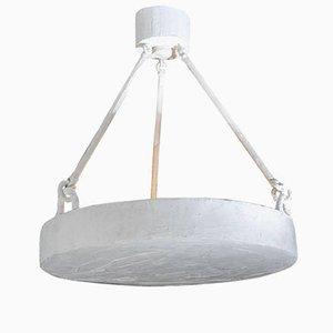 Lampe à Suspension Ronde en Plâtre Blanc, 1970s