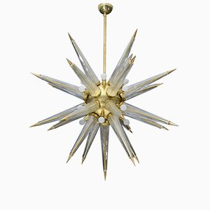Brass Sputnik Chandelier with Murano Glass Spikes, 1970s