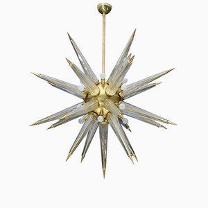 Lámpara de araña Sputnik de latón con púas de cristal de Murano, años 70