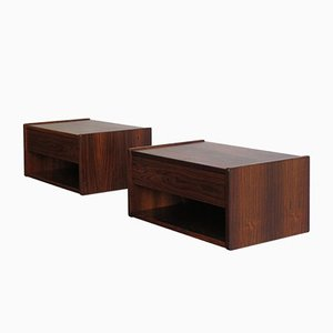 Danish Rosewood Bedside Tables, 1950s, Set of 2