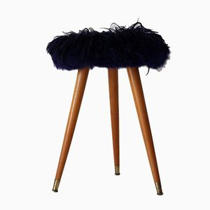 Mid-Century Dyed Sheepskin Stool
