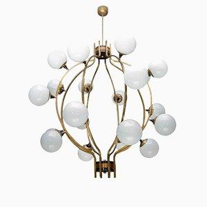 Lámpara de araña vintage con globo y jaula