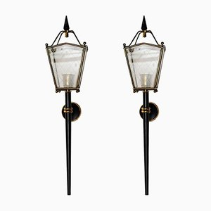 Black Metal, Brass & Glass Lantern Wall Sconces, 1960s, Set of 2