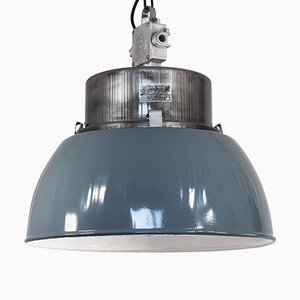 Large Vintage Polish Industrial Pendant Lamp from Mesko