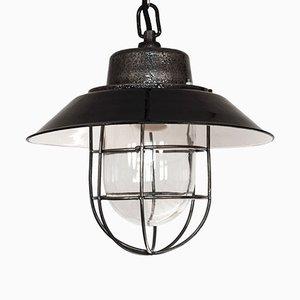 Lampe à Suspension Vintage Industriel à Email Noir, Pologne