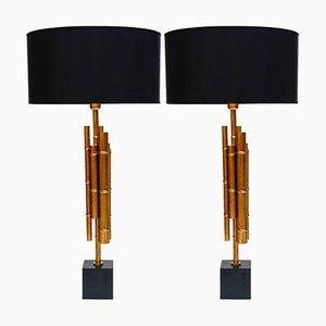 Lámparas de mesa vintage de bambú de metal y latón. Juego de 2