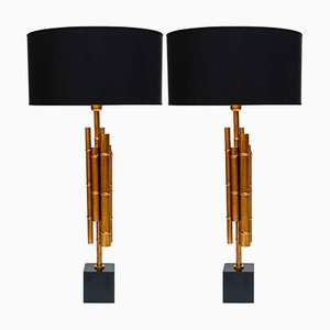 Vintage Bamboo Table Lamps in Metal & Brass, Set of 2