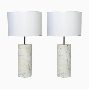 Italian Carrara Marble Table Lamps, 1980s, Set of 2