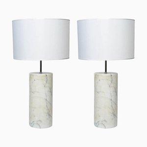 Italienische Carrara Marmor Tischlampen, 1980er, 2er Set