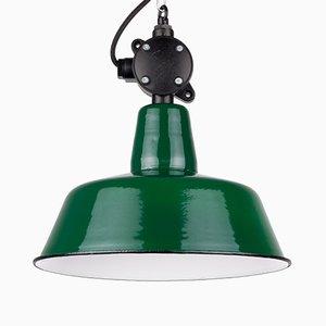Lampe à Suspension Vintage Industriel à Émail Vert, Pologne