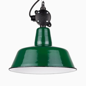 Vintage Polish Industrial Green Enamel Pendant Lamp