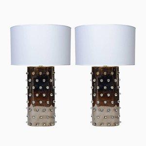 Lámparas vintage de cerámica pintada en plateado con canicas de mármol. Juego de 2