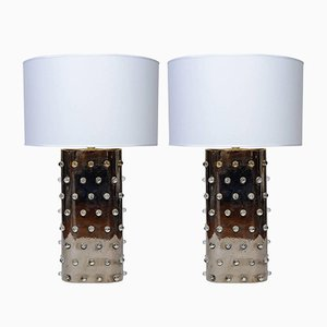 Silberfarbene Vintage Keramik Lampen, 2er Set