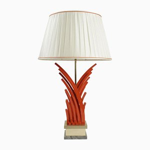 Painted Metal, Gold Leaf & Marble Table Lamp, 1970s