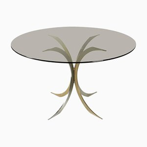 Chromed and Gold Metal Pedestal Table, 1970s