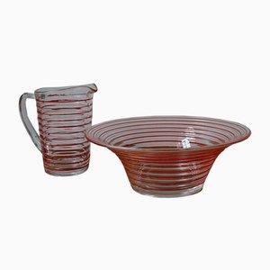 Ensaladera y jarra danesa vintage de vidrio de Jacob E. Bang para Holmegaard