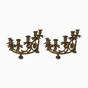 Italienische Vintage Bronze Kerzenständer, 2er Set