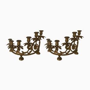 Vintage Italian Bronze Candelabras, Set of 2