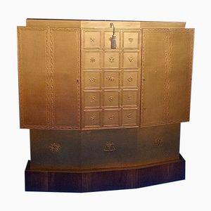 Art Deco Nussholz Barschrank mit goldfarbenem Lack, 1930er