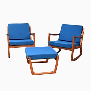2 Senator Rocking Chairs & 1 Footstool by Ole Wanscher for France & Søn, 1960s