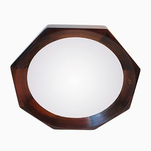 Danish Octagonal Rosewood Wall Mirror by BVK, 1960s