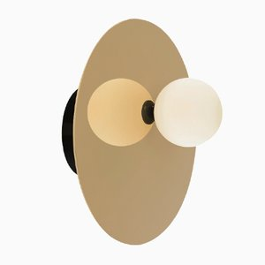 Disc & Sphere Asymmetrical Ceiling or Wall Light in Black by Atelier Areti