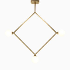 Rhombus Pendant with 3 Glass Spheres by Atelier Areti