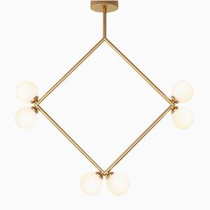 Lampada a sospensione Rhombus con 6 sfere in vetro di Atelier Areti