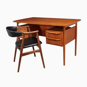 Escritorio de teca y silla de Gunnar Nielsen Tibergaard, años 60