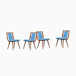 Blue Leather Chairs, 1950s, Set of 4
