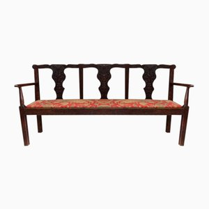 Antique Oak Chippendale Style Settee