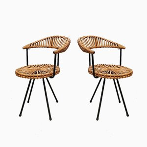 Vintage Rattan Chairs by Dirk van Sliedregt for Rohé Noordwolde, Set of 2