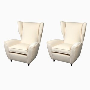 Italian Modern High Back Chairs, 1950s, Set of 2