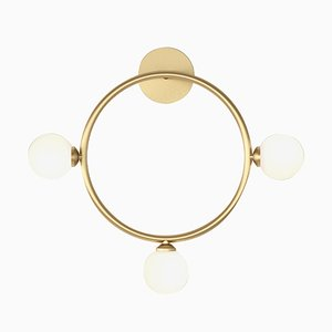 Applique Murale Cercle avec 3 Sphères en Verre par Atelier Areti