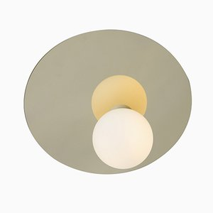 Disc and Sphere Asymmetrical Ceiling or Wall Light in Chrome by Atelier Areti