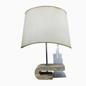 Lampada da tavolo con base in travertino di Fratelli Mannelli, anni '70