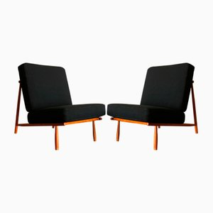 Domus 1 Lounge Chairs in Black by Alf Svensson for Dux, 1950s, Set of 2
